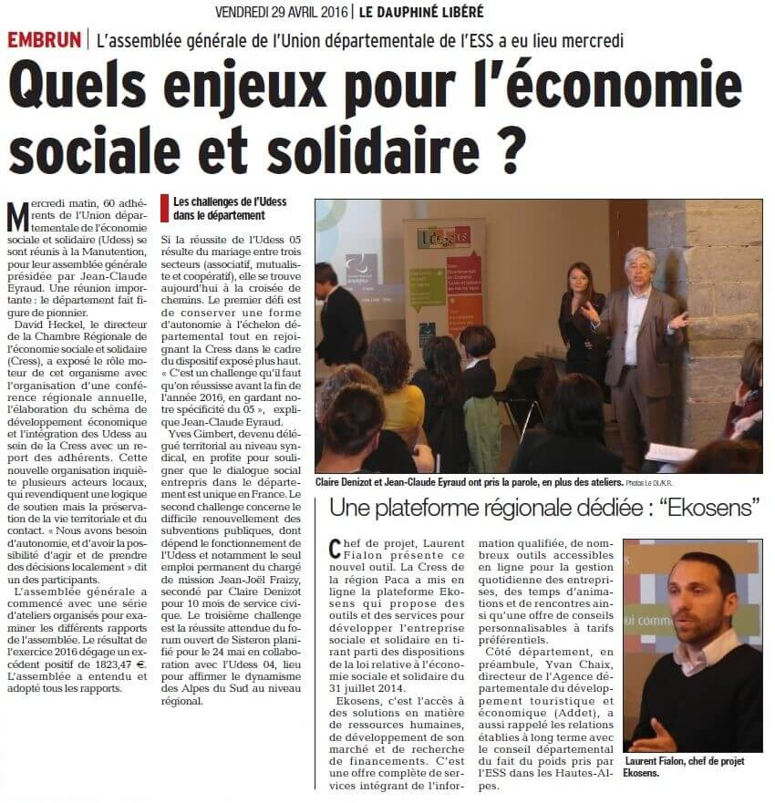 Article DL sur l'AG 2016 de l'Udess 05