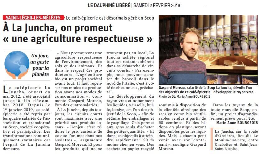 Article du  Dauphiné Libéré du 2 février 2019
