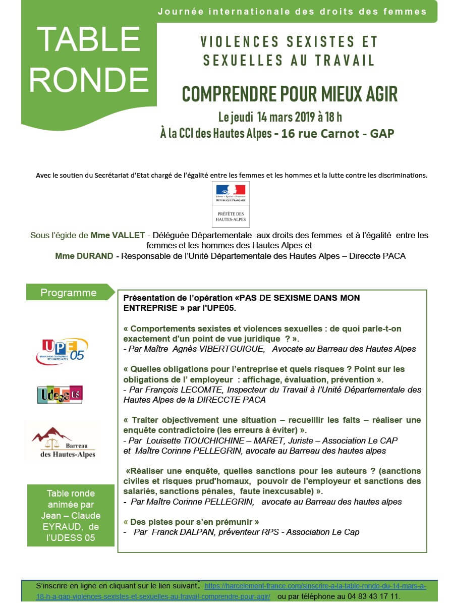 Affiche Table Ronde Gap 14 mars 2019