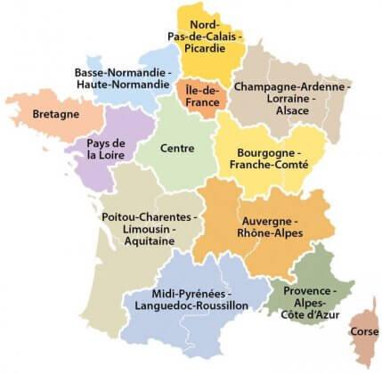 Carte des régions 2016