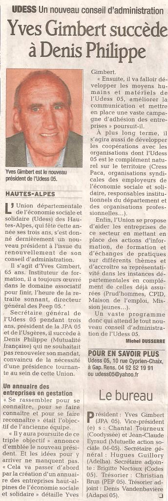 Article du Dauphiné Libéré paru le 8 mai 2011